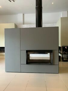 STUV 22110 Double Faced Wood Fire in Steel Cladding - Ex Display