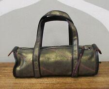 NIKE Proto Sample Metallic Gold Crackle Leather Black Mini Duffle Bag 1972 Zip