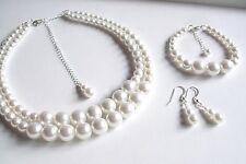 Classico Bianco Perla Gioielli Set Collana Bracciale e orecchini vintage con