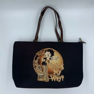 Betty Boop Brown Ostrich patchwork satchel bag handbag purse TAN