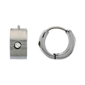 Small Stainless Steel Huggie Earrings w/ Cubic Zirconia Stone