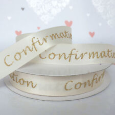 Confirmation ribbons cream/gold or white/silver glittery 15mm per metre