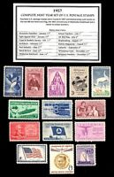 1957 - COMPLETE YEAR SET of Mint, Never Hinged, Vintage Postage Stamps