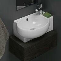 CeraStyle Mini Ceramic Wall-Mount Bathroom Sink w/Overflow Drain 17.5in x 11.2in