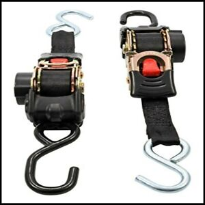 Ratchet Tie Down Pair Anchor Retractable Transom Trailer Boat Hook Strap 2 Pack