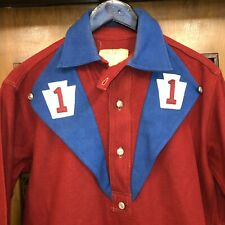 VINTAGE 1920'S TWO-TONE FIREMAN WORKWEAR CHINSTRAP PULLOVER WORK SHIRT - RARE!