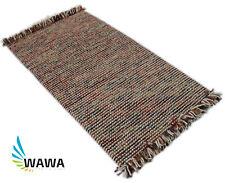 Teppich Schurwolle 90x160 cm 100% Wolle Handgewebt Wollteppich Beige Braun Rot