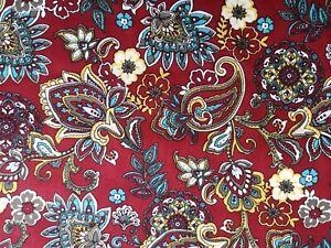 Fat Quarter Burgundy Red Floral Paisley Fabric Cotton Poplin Patchwork Crafts FQ