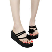 Summer Women Lady Beach High Heel Wedge Platform Flip Flops Sandal Slipper Shoes