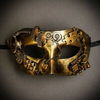 Steampunk Costume Party Masquerade Mask Phantom Venetian Half Face Mask - Gold