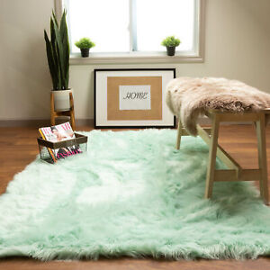 Faux Fur Fluffy Shag Rug Long Pile Non-Skid Furry Carpet in Many Colors + Sizes