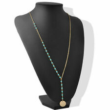 ❤️Necklace 9ct Gold Over Turquoise Beads❤️ Coin Cleavage UK FREE Post silver ❤️