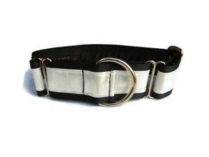 "Safety Martingale dog collar 1.5"" greyhound lurcher. Reflective White"