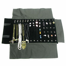 US Seller Jewelry Organizer Storage Travel Roll Display Black Velvet Pouch Bag