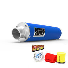HMF Performance Slip On Exhaust Muffler Blue Pro Design Foam Filter Raptor 700