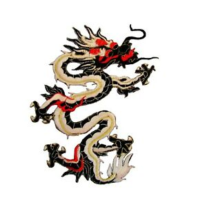 Oriental Dragon Iron On Patch Large Embroidered Badge 21 x 17.5 cm Motif P610