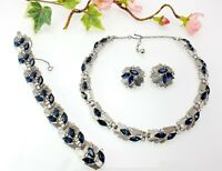 Vintage Crown Trifari Sapphire Rhinestone Necklace Bracelet Earring Set Parure