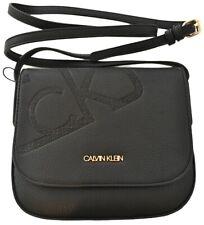 $98 Nwt Calvin Klein CK Rachel Monogram Logo Crossbody Bag Vegan Leather Black