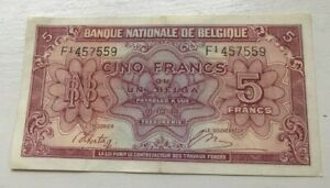 1943 Belgium 5 Francs - World Banknote Currency
