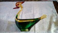 MURANO Art Glass Sommerso Rooster/Bird Vintage Italian Figurine