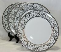 Ciroa Veluto Silver Swirls Metallic Accent Porcelain Dinner Plates Set of 4 New