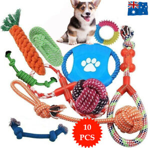 10PC Dog Braided Rope Toys Pet Puppy Chew Bite Toy Gift Tough Cotton Clean Teeth