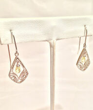 Sterling Silver Dangle/Drop Hook Earrings - 925 China - Yellow Citrine