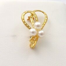 Vintage Mikimoto 18k Gold Akoya 5mm Triple Pearl Heart Ribbon Brooch Pin Mint