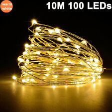 10M 33FT 100 LED Copper Wire String Fairy Light Lamp Christmas Party Warm White