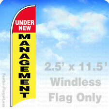 UNDER NEW MANAGEMENT - Windless Swooper Feather Banner Sign 2.5x11.5 - yb