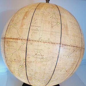 Celestial astrolabe globe lamp light Made in GDR 1970 Vintage diameter 13 inch