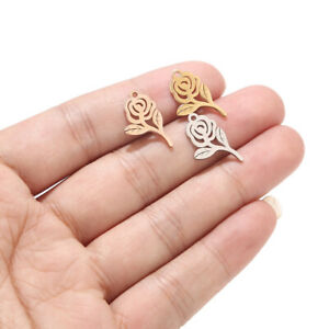 10pcs Polished Stainless Steel Rose Flower Charms diy Jewelry Making Crafts