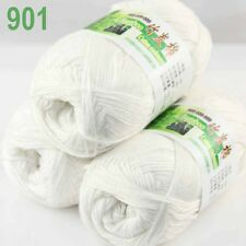 3 balls×50g Super Soft Natural Smooth Bamboo Cotton Yarn Knitting White 901