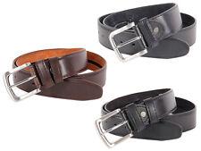 Herren Ledergürtel 4cm breit Metall Schnalle Jeans Hosengürtel Braun Schwarz NEU