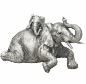 SILVER REFLECTIONS ELEPHANT WITH BABY CALF ORNAMENT