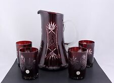 VINTAGE BOHEMIAN RUBY RED CUT TO CLEAR CRYSTAL PITCHER & 4 TUMLERS - RARE