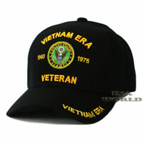 U.S.ARMY Hat VIETNAM ERA VETERAN 1960-1975 Military Licensed Baseball Cap-Black