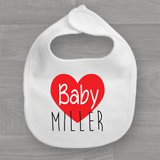 Personalised Baby's Surname Baby Bib, Keep Sake Cute Feeding Dribble Muslin
