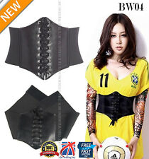 Womens Black Leather Waistband Cincher Wide Tied Waspie Corset Waist Belt BW04