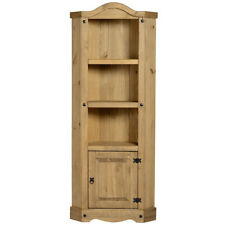Distressed Waxed Pine Finish Corner Storage Display Cupboard Cabinet Unit