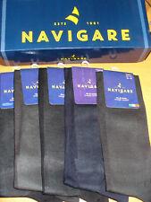 5 paia calza lunga NAVIGARE filo scozia piede 45/46 nero blu grigio art.C 201