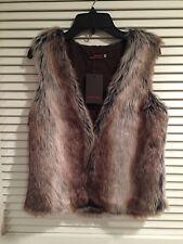 Catimini Brown and Gray Furr Vest Size 12