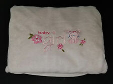 Carters Child Mine Baby Girl Pink Bunny Rabbit White Fleece Blanket Lovey Flower