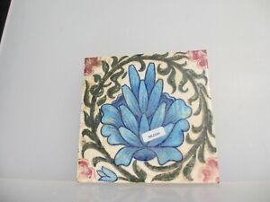 Vintage Ceramic Tile Floral Flowers Leaf Art Nouveau Old England