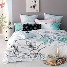 Linen House Mod Home Roxy KING Quilt Cover Set Cotton Sateen Birds Imperfect