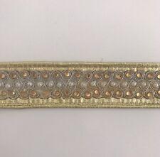Atractivo indio Trenzado De Oro Con Cristal & Perla encaje de corte-Vendido Por Metro