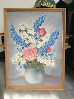 Vintage Original Still Life Oil On Board Painting Signed G Goodwin