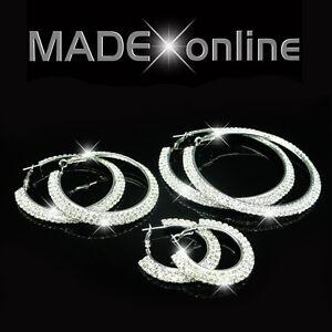 Double Line Bling Hoop Earrings, Sparkle Silver Round Diamante Loops