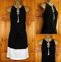 NEW EXCHAINSTORE LADIES BLACK WHITE VINTAGE STYLE SUMMER SHIFT DRESS SIZE 6-18