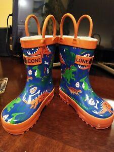 LONE CONE Kids Rain Boots Dinosaurs Size 4